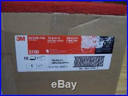 3M 59258 Red 5100 Buffing Buffer Pad 20 x 14 x 1 Box of 10 NEW