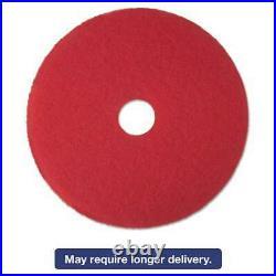 3M Low-Speed Buffer Floor Pads 5100, 14 Diameter, Red, 5/Carton 048011083896