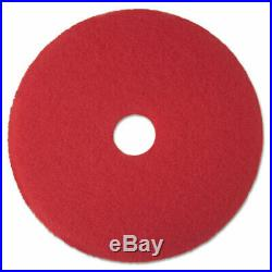 3M Low-Speed Buffer Floor Pads 5100, 18 Diameter, Red, 5/Carton