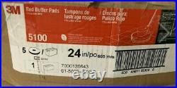 3M Red Buffer Pad 5100, 24 Floor Buffer, Machine Use (Case of 5)