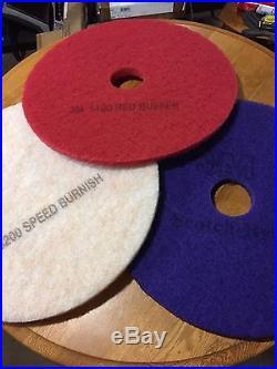 3M Scotch-Brite Purple Diamond Floor Pad 20 Burnisher Buffer 1 Of each
