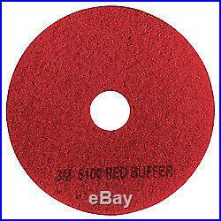 3M(TM) 5100 Buffer Floor Pads, 20in, Red, Box Of 5