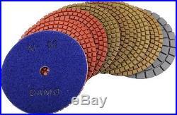 4 Wet Diamond Polishing Pads Set of 7 + Black Buff for Granite Countertop/Floor