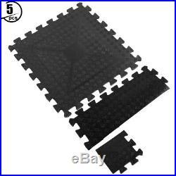 5pcs Rubber Ground Mat Indoor Fitness Buffer Floor Pad Damping Cushion Black