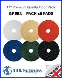 5x Floor Polisher Cleaning Scrubber Machine Stripping Buffing 17 Pads (GREEN)
