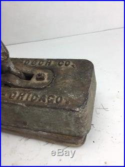 Antique Henry Bosch Co. Iron Weighed WAXER POLISHER Floor Wax Pad Holder