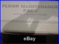 New CASE OF 5 Floor Maintenance Pads White Floor Buffer Super High Polish 13