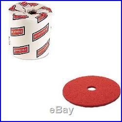 Value Kit 3m Buffer Floor Pad 5100 (MMM08395) and White 2-Ply Toilet Tissue, 4