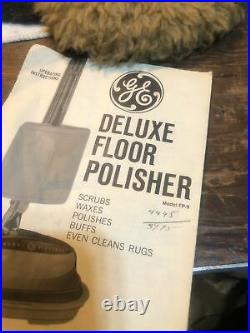 Vintage CHROME GE Floor Buffer Polisher General Electric with Pads, Manual Guard