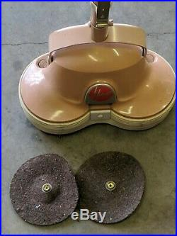 Vintage Hoover Floor Scrubber Polisher Shampooer With 1 Brush 2 Pads Works