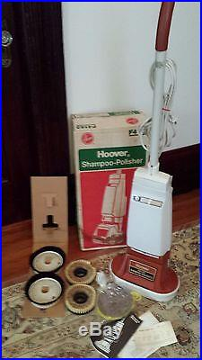 Vintage Hoover Model F4143 Floor Polisher Scrubber Buffer with Brushes pads IN BOX