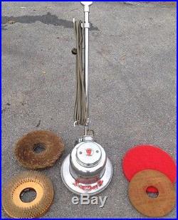 Vintage Red Devil All Commercial Chrome Floor Polisher WORKS Pads & Brushes