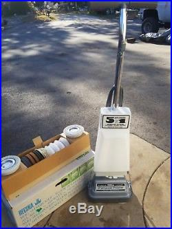 Vtg Regina Heavy Duty Rug Shampooer Floor Polisher Scrubber Brushes Pads Box