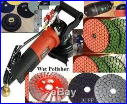 Wet Polisher 5mm Thick floor counter top 24 pad 3 buff 4 cup concrete granite